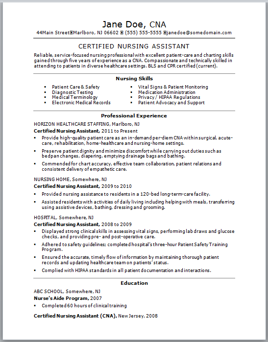 skills of a cna for resumes