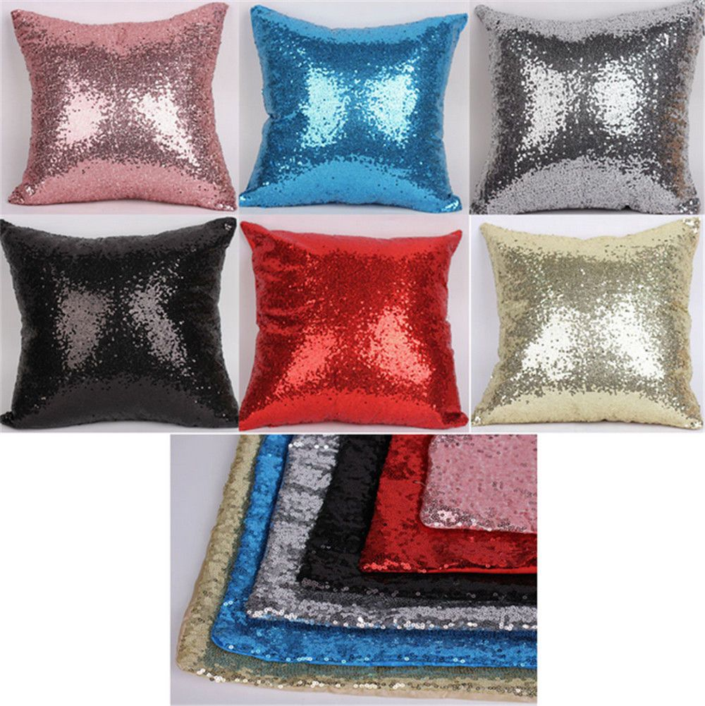 8cfceec34167 5.4AUD - Solid Color Glitter Sequins Throw Pillow Case Lounge Cafe Decor Cushion  Cover Ac  ebay  Home   Garden