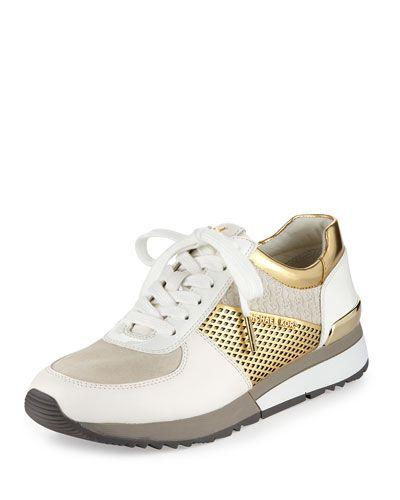 68a3b4f6e MICHAEL MICHAEL KORS Allie Mixed-Media Trainer Sneaker, Optic White/Gold. # michaelmichaelkors #shoes #sneakers