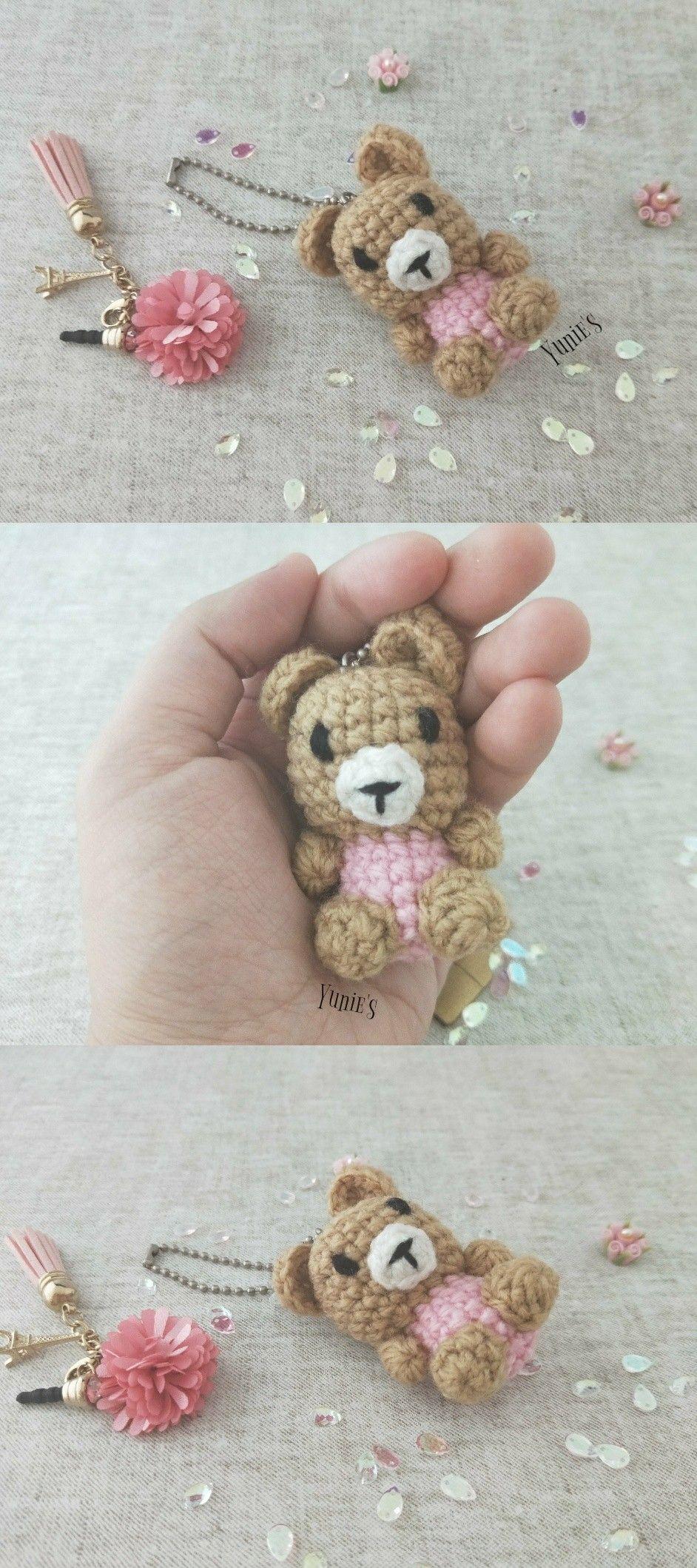 Free Crochet Keychain Pattern - Simply Bear Amigurumi - Crochet News | 2118x942