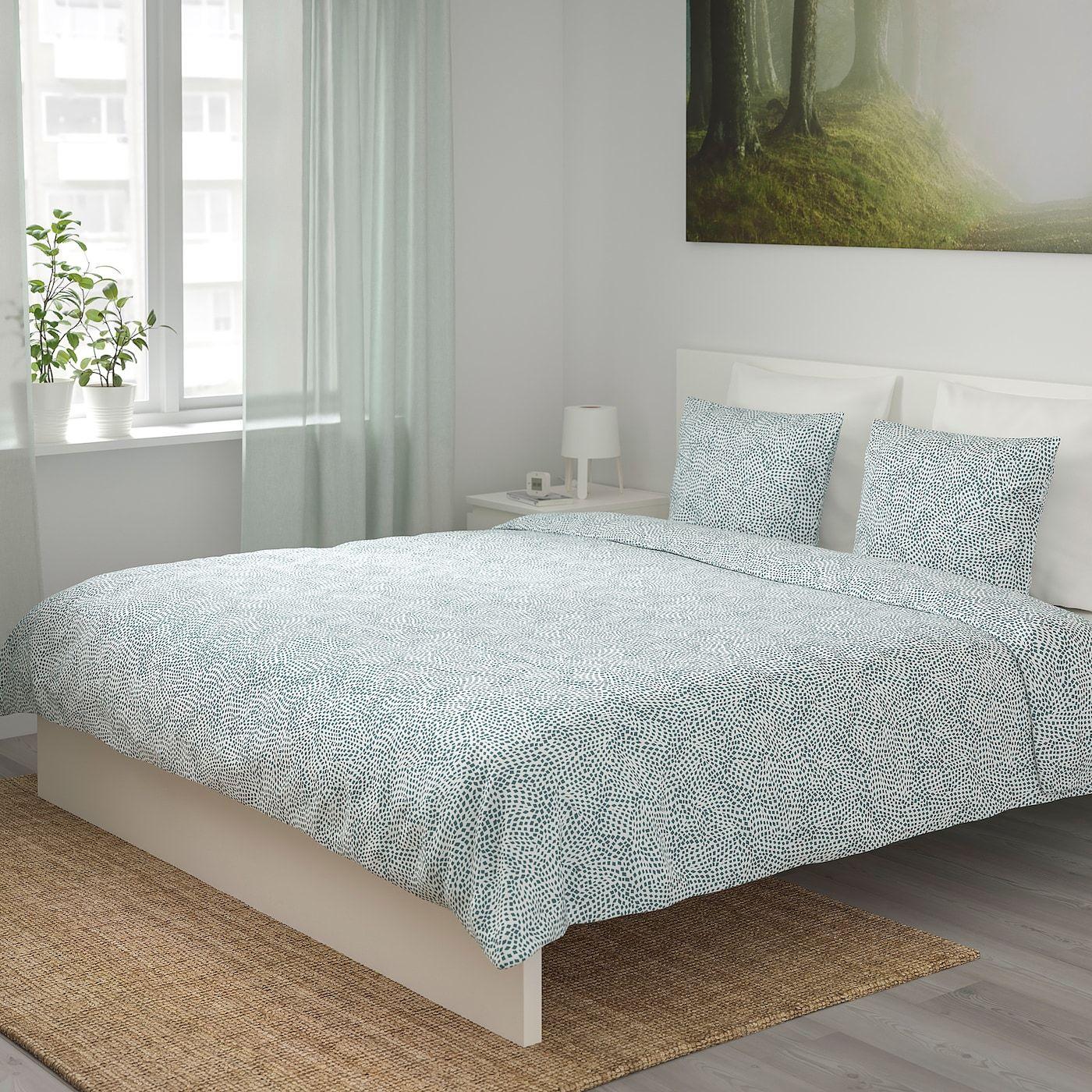 Tradkrassula Duvet Cover And Pillowcase S White Blue Shop Ikea Ikea In 2020 Duvet Covers Duvet Paisley Duvet