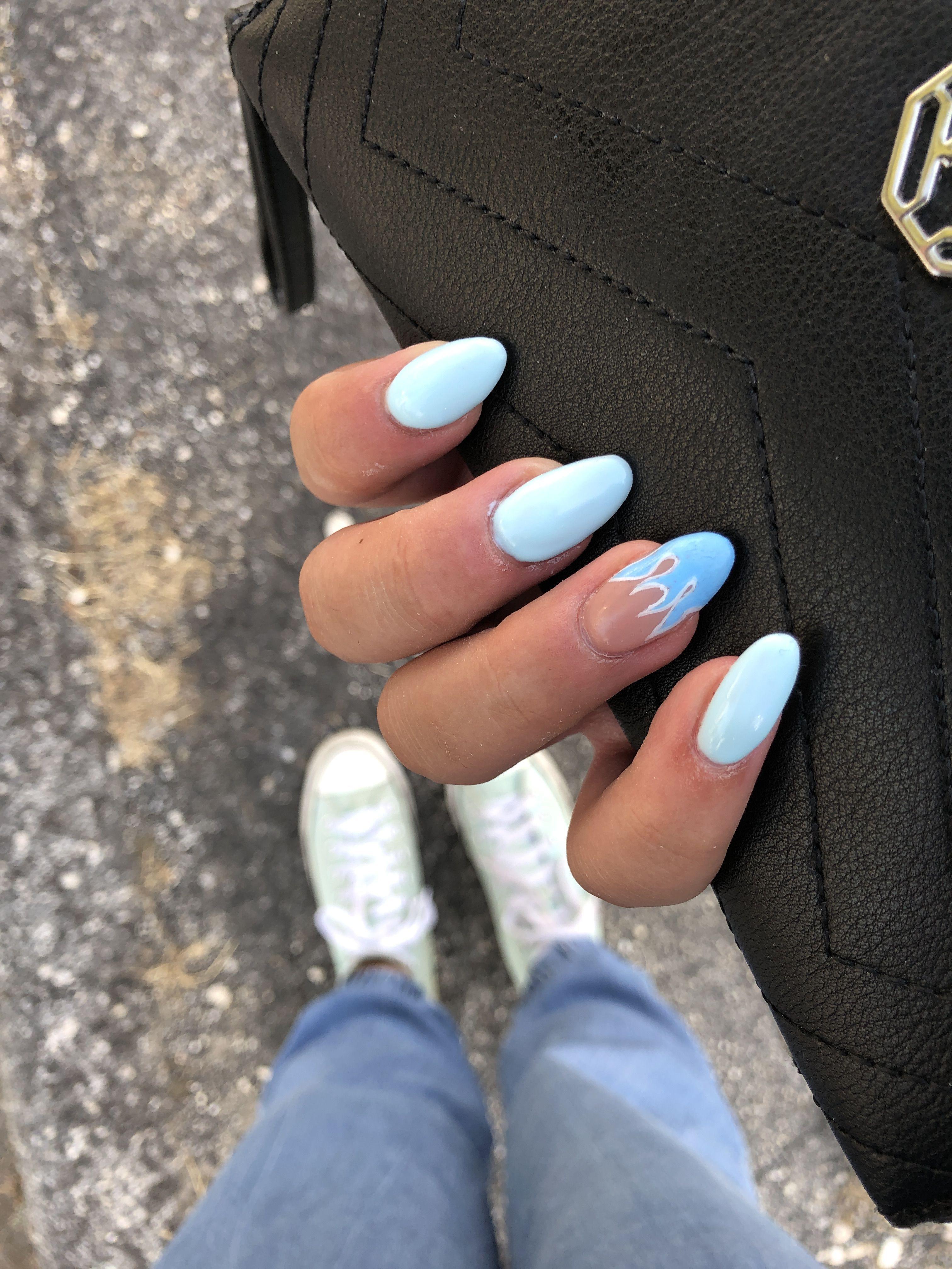 Light Blue Nails With Fire Blue Fire Light Nails Blue Gel Nails Light Blue Nails Blue Acrylic Nails