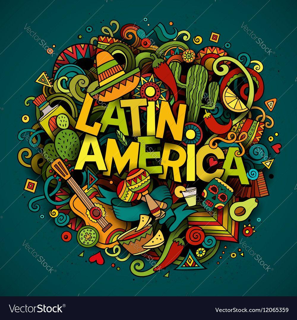 Latin America Cartoon hand drawn Doodle Royalty Free Vector , #SPONSORED, #Cartoon, #hand, #Latin, #America #AD #latinamericatravel