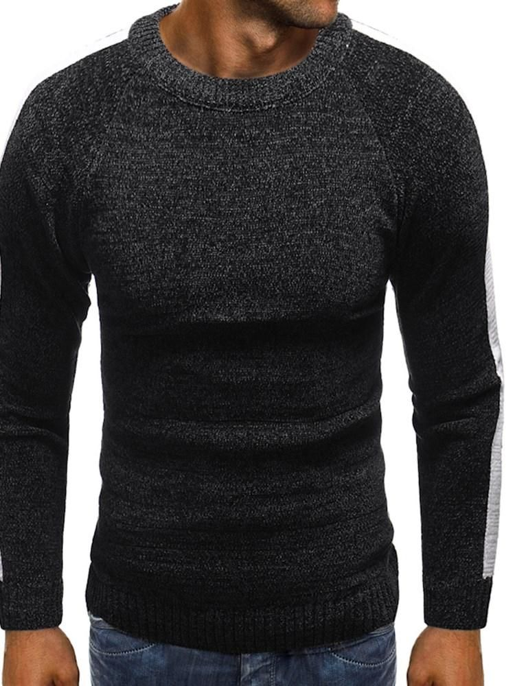 Fall Patchwork Slim Mens Round Neck Sweater Hebedress Mens Tops