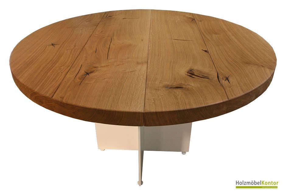 runder #Tisch aus massiver #Stammbohlen-Eiche auf #Tischgestell - runder küchentisch weiß
