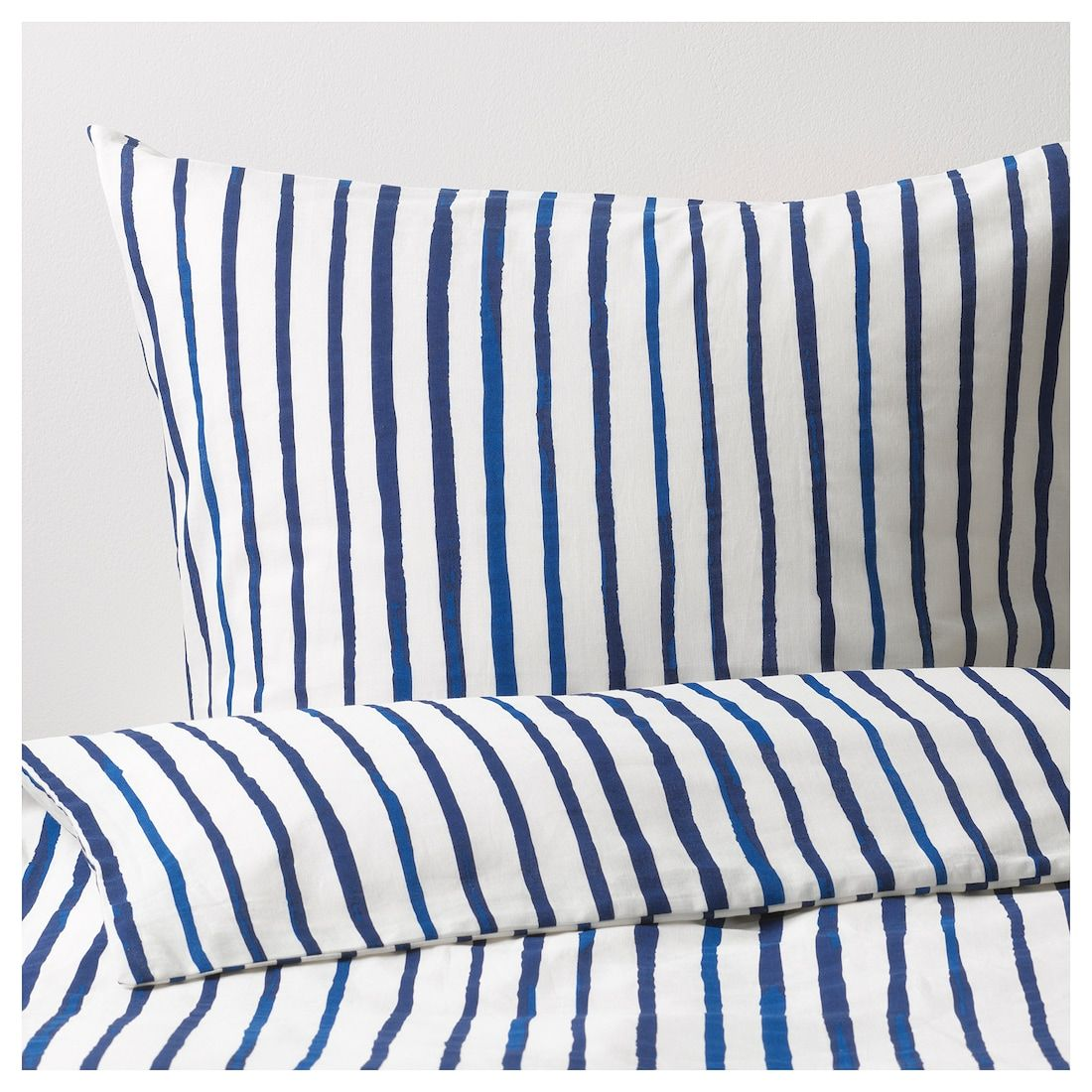 SÅNGLÄRKA Duvet cover and pillowcase(s), stripe, blue