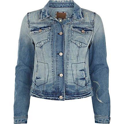 Light Wash Distressed Denim Jacket 3500 I Got Clothes