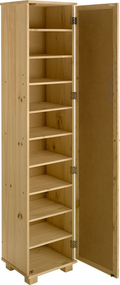 Superbe Tall Pine Shoe Cabinet With Mirror Door