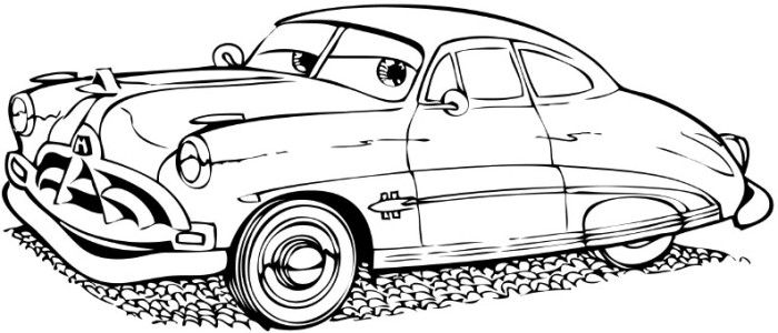 Cartoon Car Doc Hudson Coloring Page No Instructions With