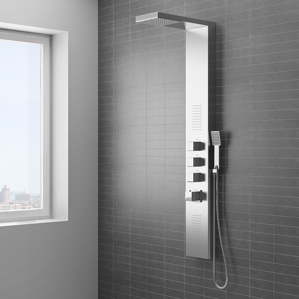 Milan Modern Stainless Steel Tower Shower Panel (Thermostatic ...