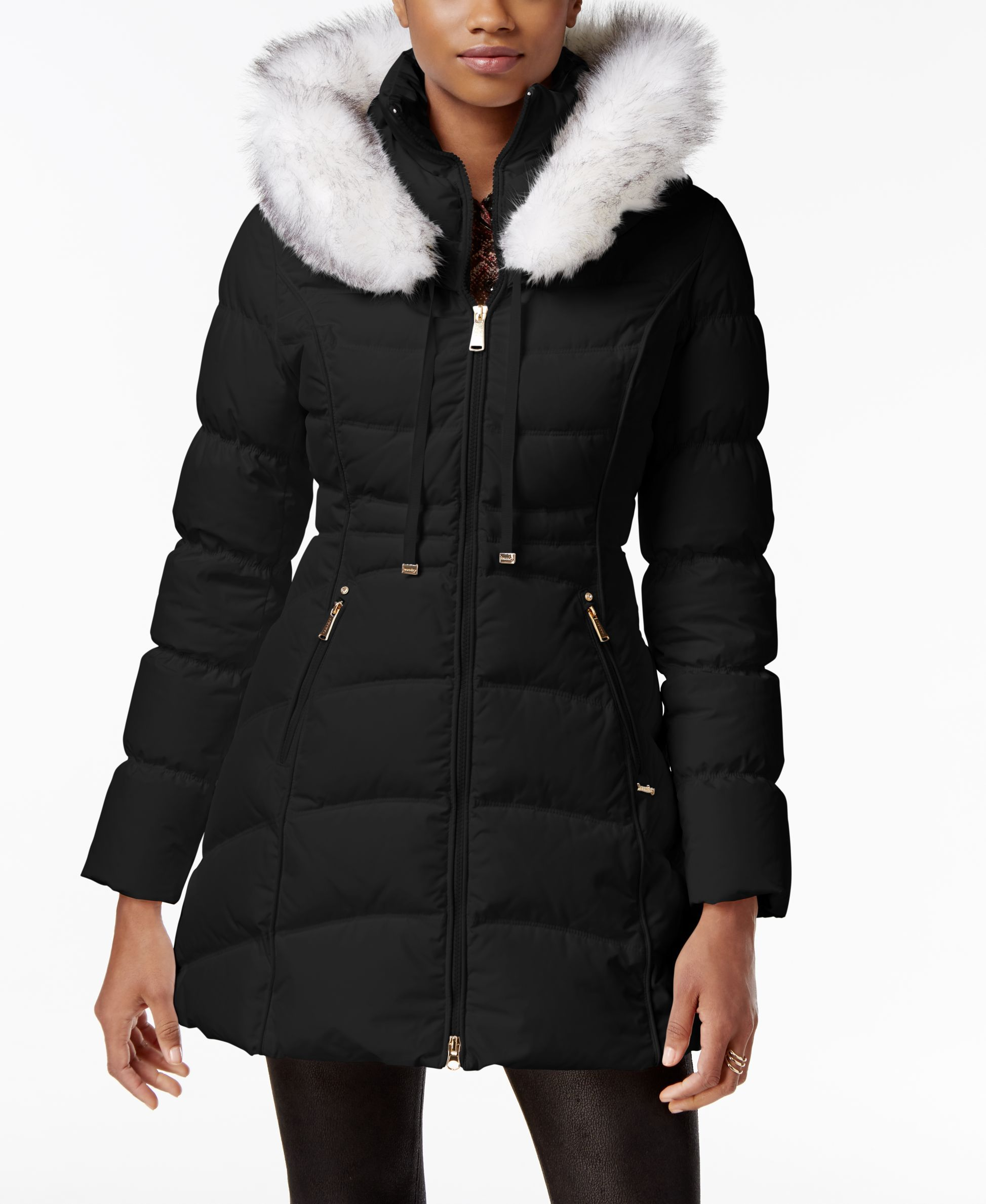 Laundry By Shelli Segal Faux Fur Trim Down Puffer Coat Down