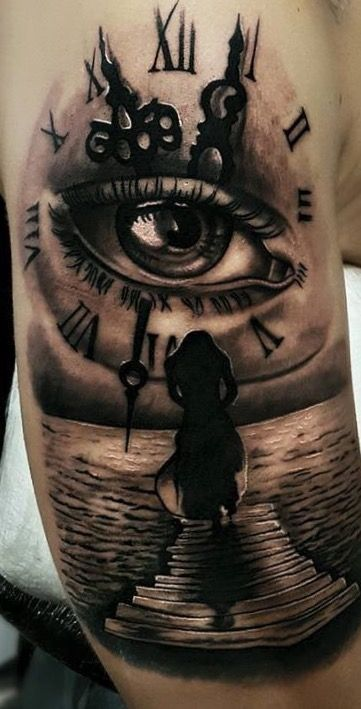Jamie S Eye In A Time Piece Time Piece Tattoo Clock Tattoo Tattoos