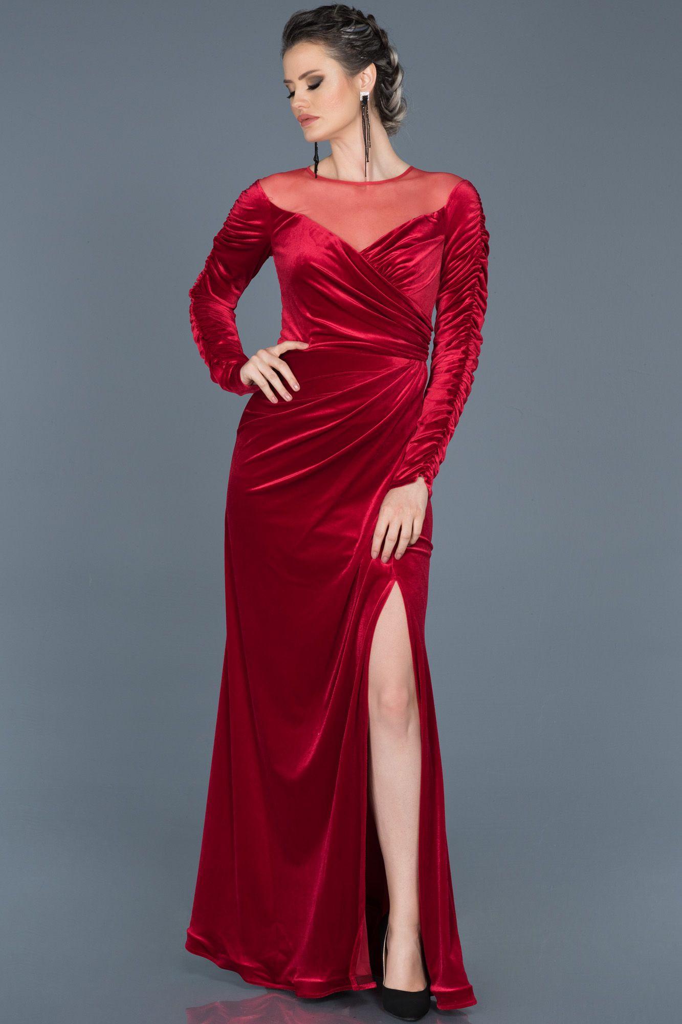 Kirmizi Yirtmacli Uzun Kadife Abiye Abu527 Payet Elbise The Dress Moda Stilleri