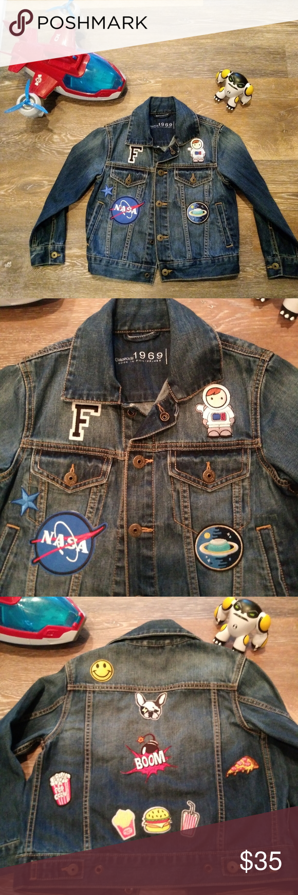 Gap Kids Denim Jacket Decorated With Patches Kids Denim Jacket Nasa Clothes Kids Denim [ 1740 x 580 Pixel ]