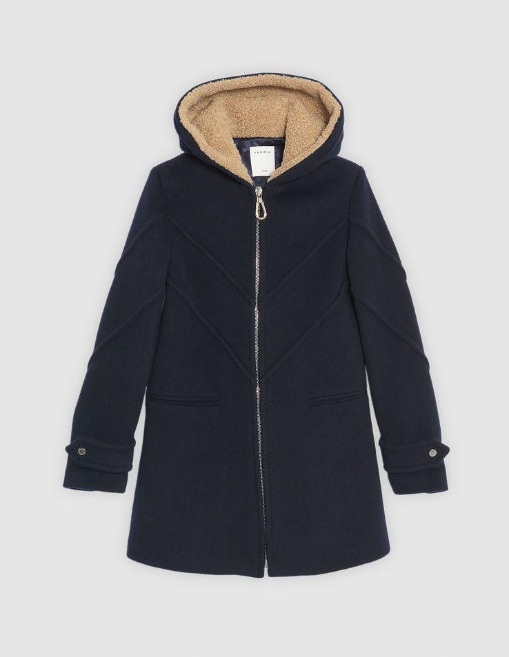 Abrigo con capucha de paño de lana   Abrigos color Camel d9a505daa036