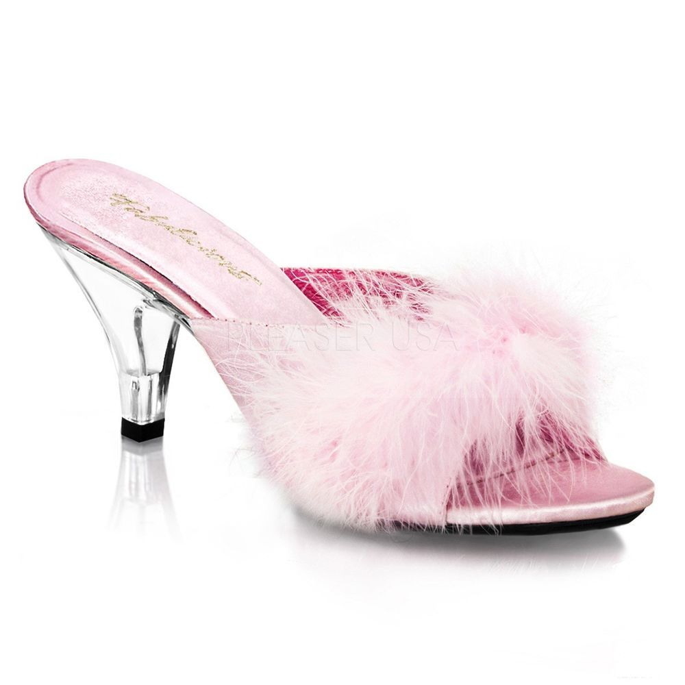 Pleaser Womens Sexy High Heels Marabou Pink Feather Slippers Evening 3 Shoes Bedroom Slippers