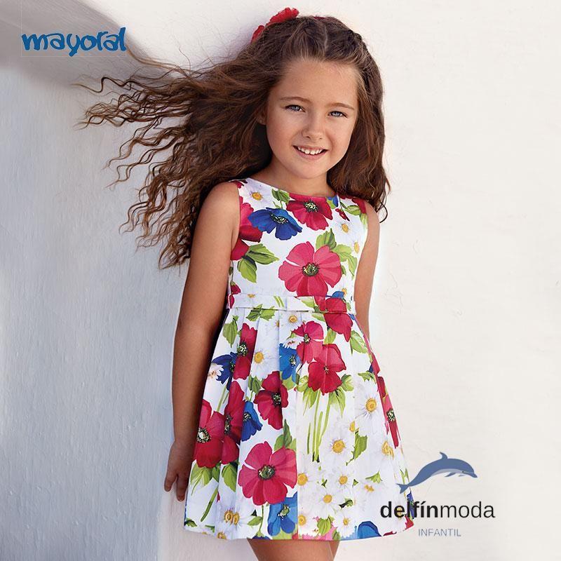 6fe210940 Vestido de niña MAYORAL en saten estampado flores grandes
