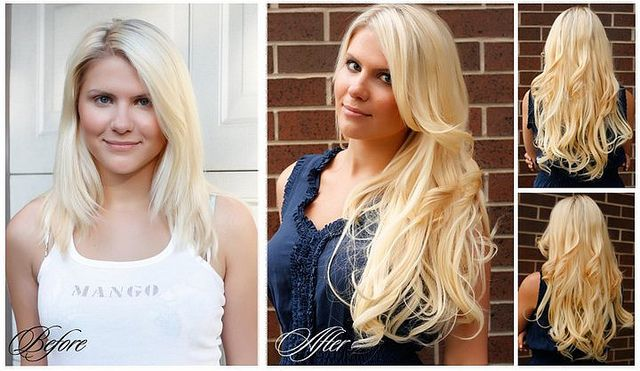 Alexandra's Before & After. How gorgeous does Alexandra's hair look after she's applied her new set of Luxy Hair Extensions?