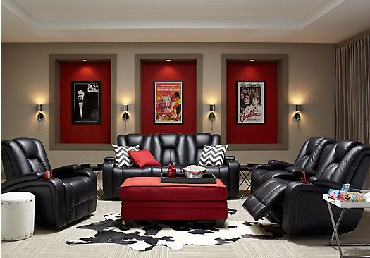red living room furniture sets small open plan kitchen design ideas picture of kingvale black 5pc reclining from