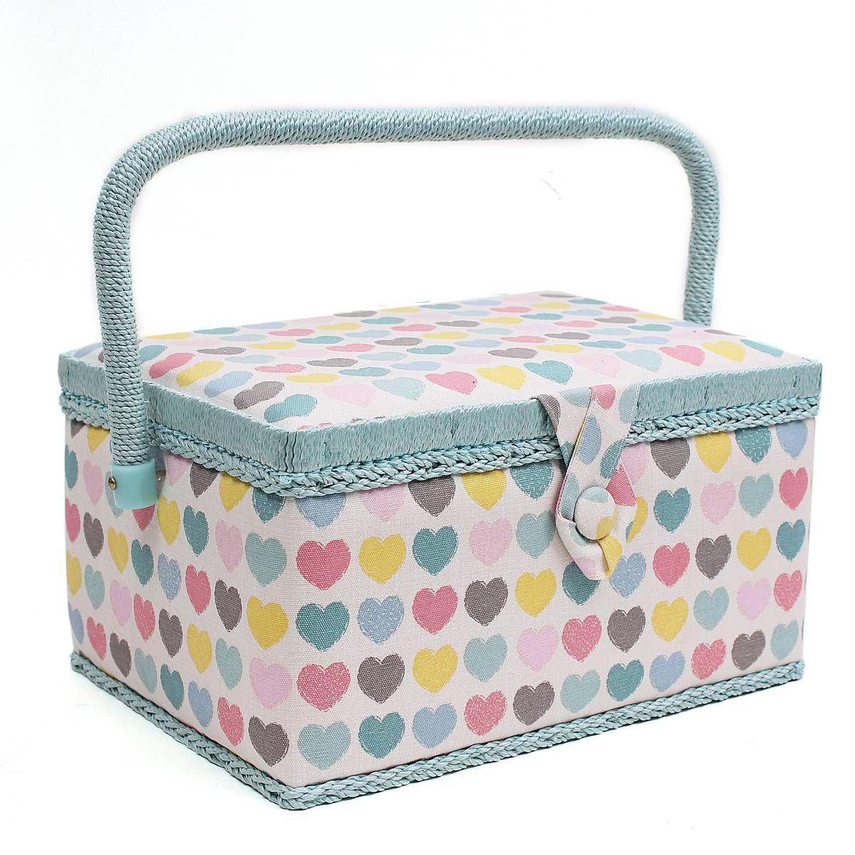 Pastel Hearts Sewing Box 18.5 x 26 x 15 cm   Present ideas ...