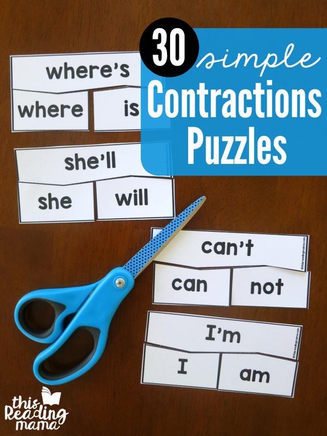 Simple Contractions Puzzles School Pinterest Inglés Para Niños