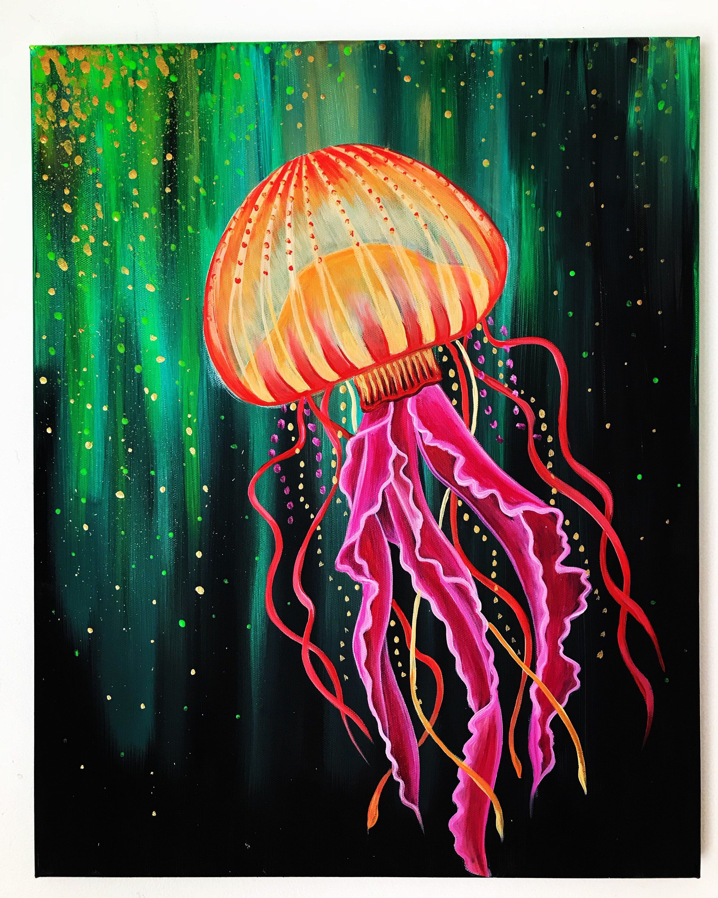 Jellyfish Etsy In 2021 Canvas Art Painting Painting Jellyfish Painting