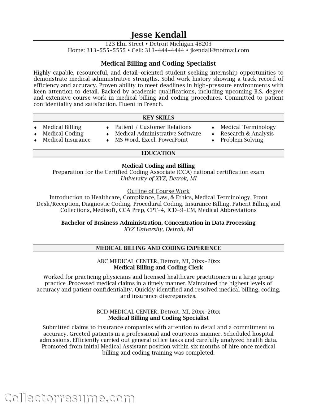 Specialist Health Insurance Medical Coder Resume Medical