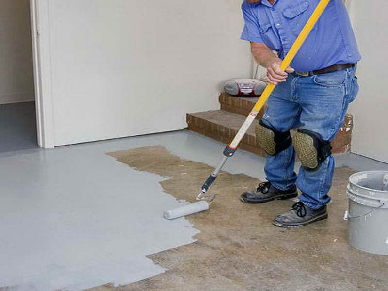 Incredible Concrete Floor Design Finished with Painting Basement