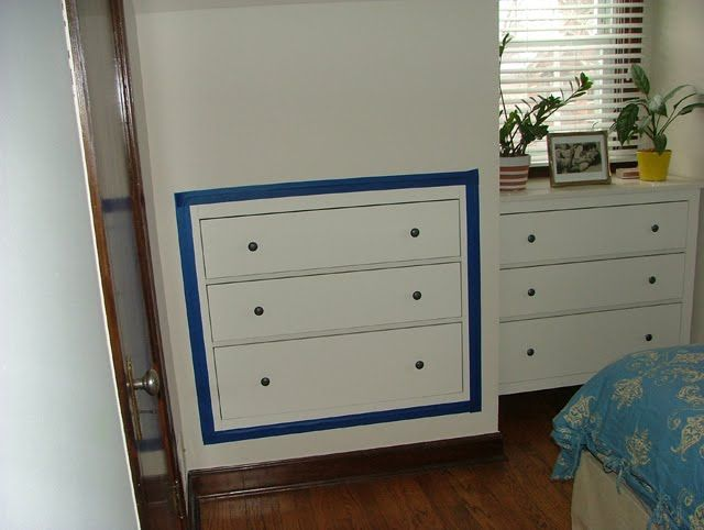 Space Saving Three Drawer Chest Inset Into Plasterboard Wall Built In Dresser Attic Bedroom Designs Knee Wall
