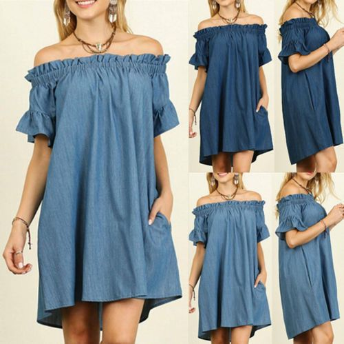 f220e291c6e6d  5.99 - 2017 Plus Size Womens Off Shoulder Bardot Button Denim Look Shirt  Dress Tops A5  ebay  Fashion