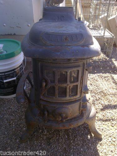 Antique Marvel Cast Iron Parlor Wood Coal Stove Furnace