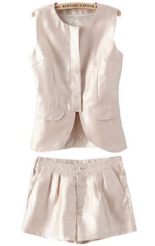 Beige Sleeveless Vest with Shorts US$34.83