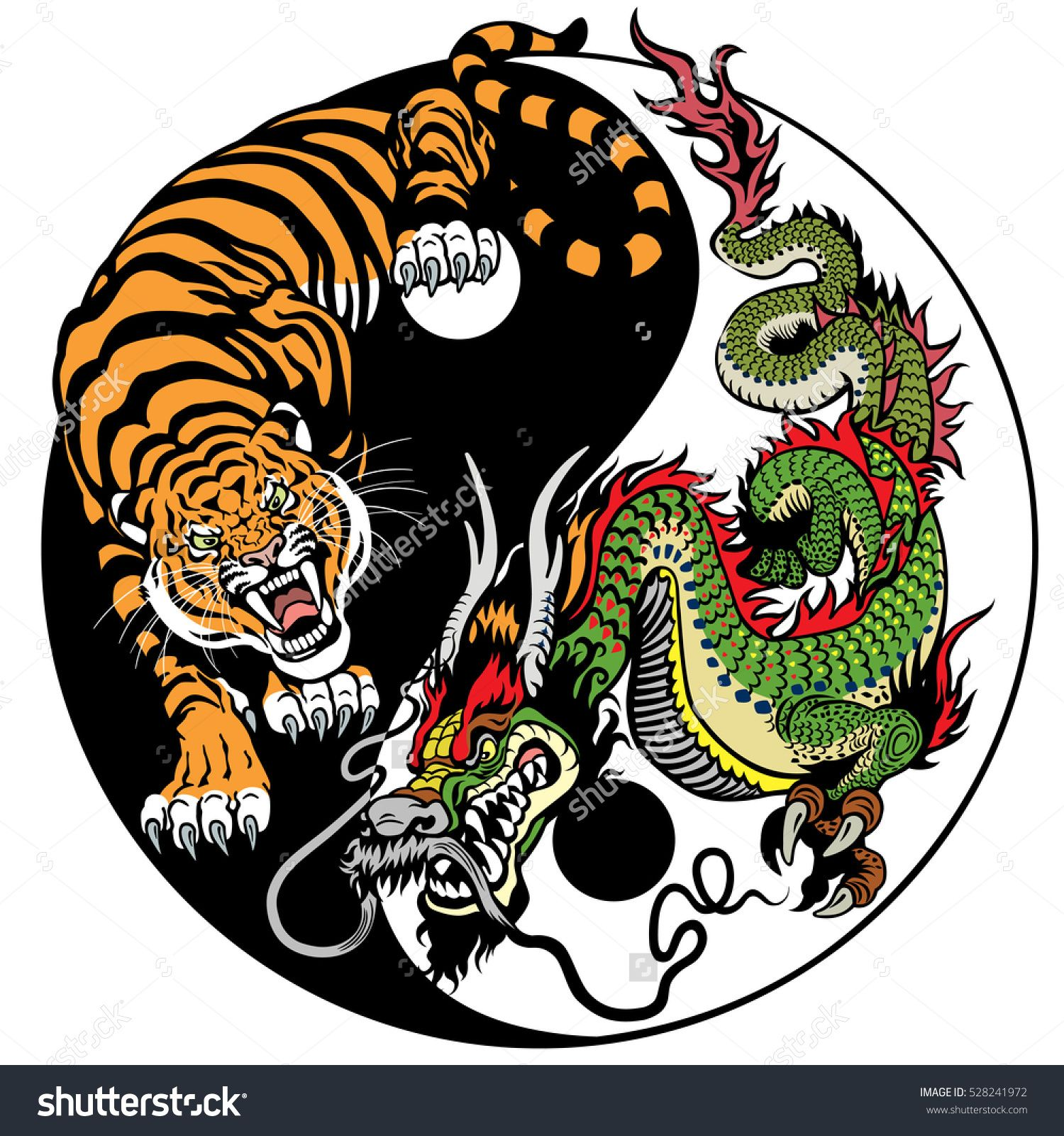 dragon and tiger yin yang symbol of harmony and balance Koi Fish Yin Yang Fish