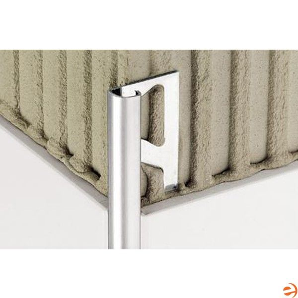 Schluter Ro60eb Rondec Edging Profile For 1 4 Inch Thick Tile 8 2 1 2 Inch Length Brushed Stainless Steel Tile Edge Stainless Steel Tile Brushed Stainless Steel