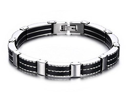 Mealguet Jewelry Stainless Steel Magnetic Clasp Classic Genuine Braided Leather Wristband Bracelets for Men