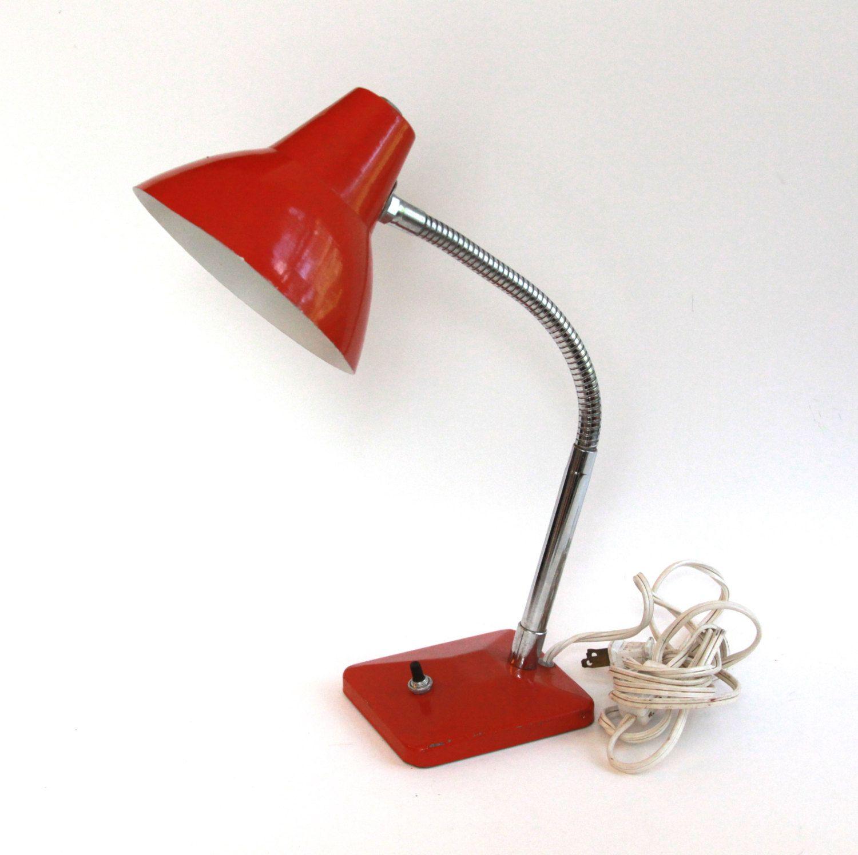 29 Vintage Red Orange Metal Desk Lamp by Underwriters