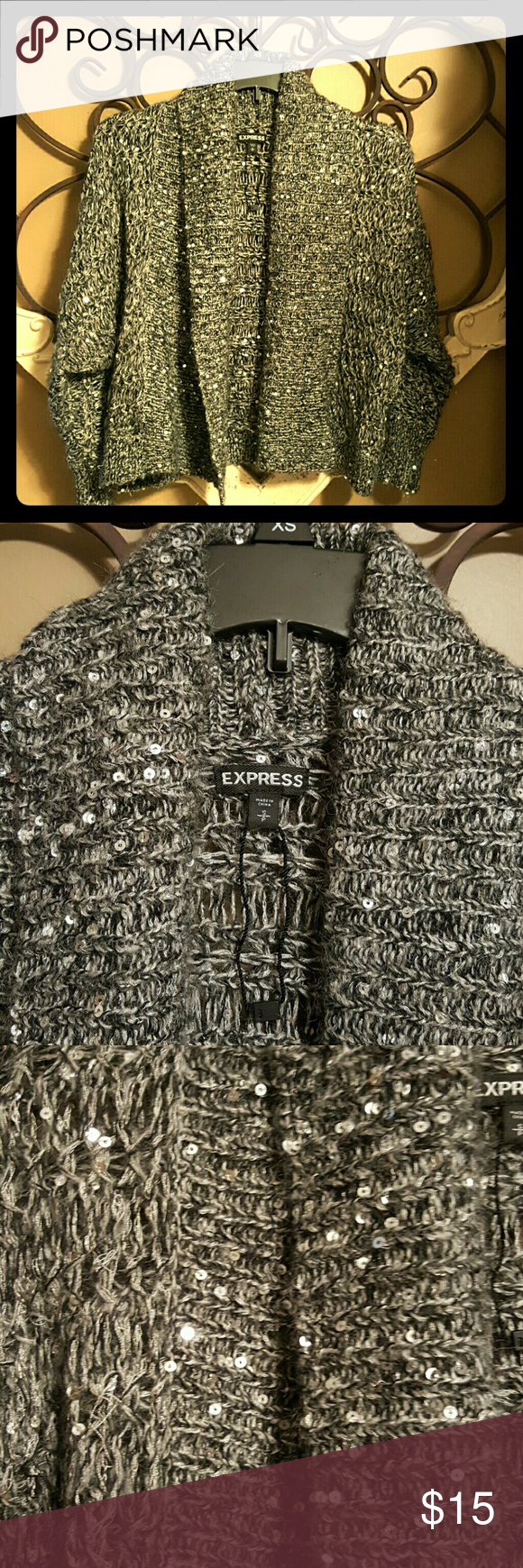 Silver Sequinned Express Party Cardigan | Sweater cardigan ...