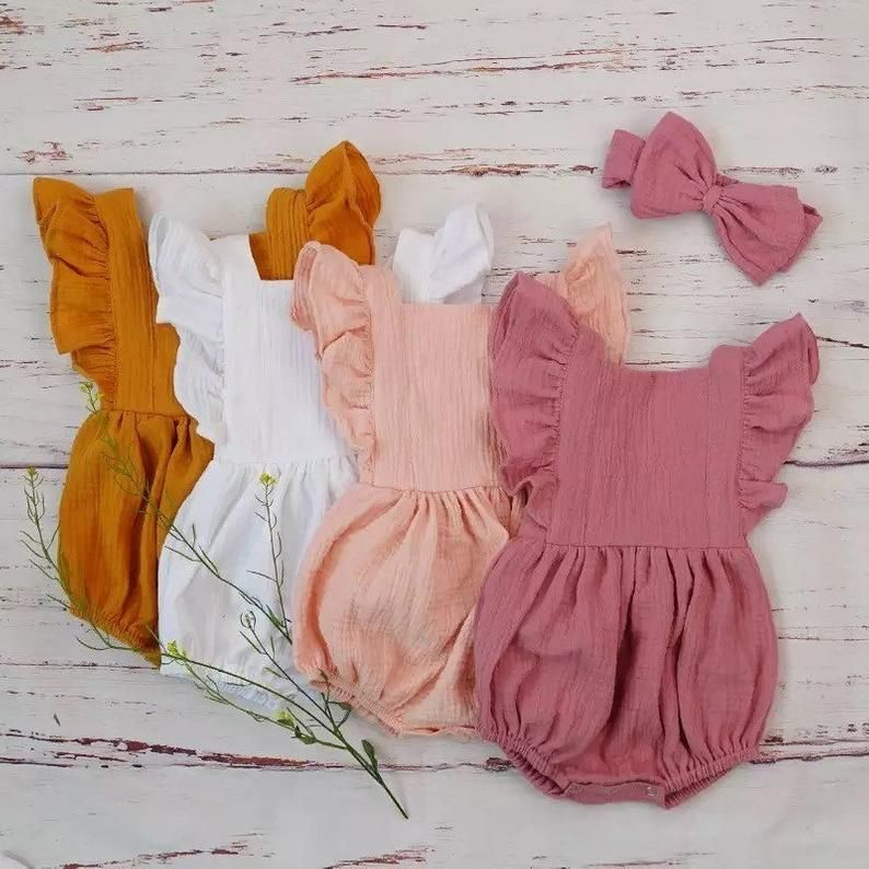Boho bodysuit/baby girl romper/ruffled outfit