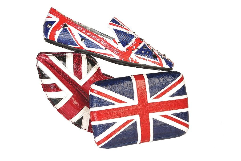 Olympics Summer 2012 Preview: Keep Calm and Accessorize On (From right: Lulu Guinness' snakeskin clutch, Jimmy Choo's studded denim shoe and s Nancy Gonzalez's crocodile clutch.)
