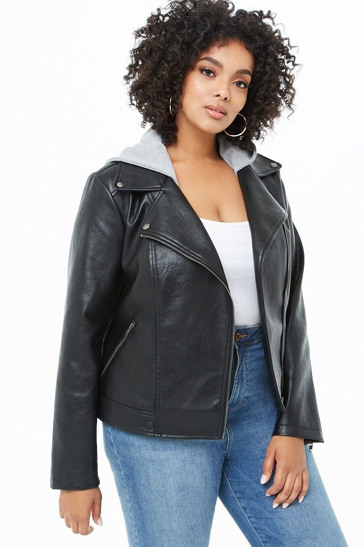 Plus Size Faux Leather Combo Moto Jacket Forever 21 (con
