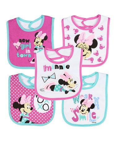 f00096a9e465 Loving this Pink   Blue Minnie Mouse Bib - Set of Five on  zulily!   zulilyfinds