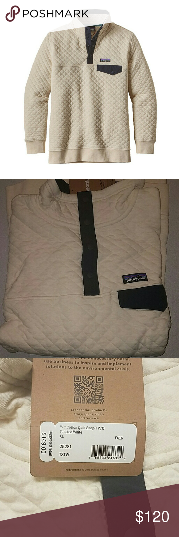 Patagonia Cotton Quilt Snap T Pullover Nwt Toasted White