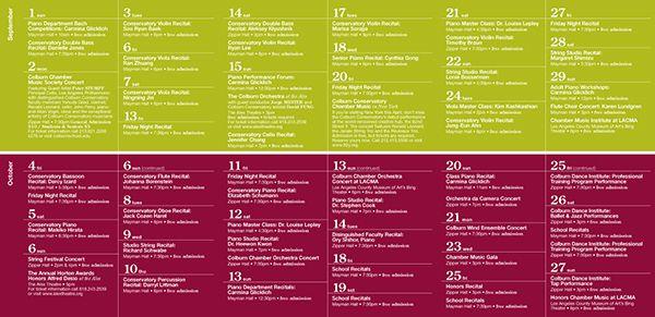 The Colburn School Event Calendar  Web Design