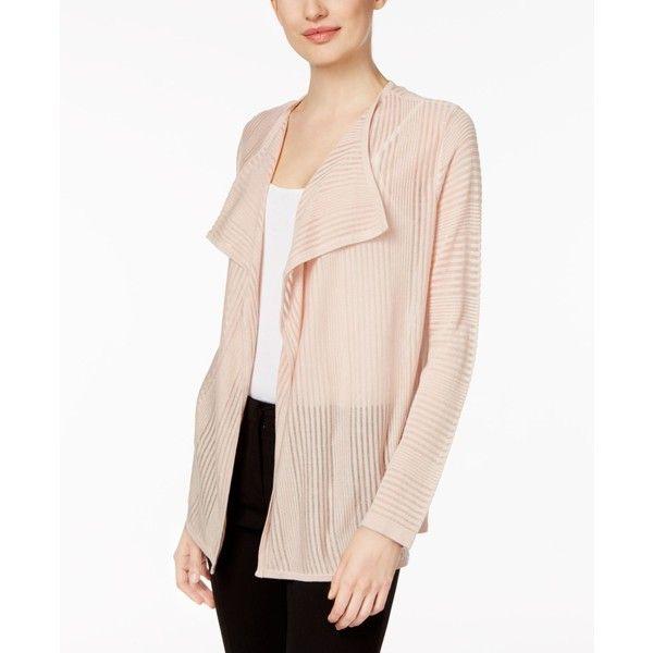 Calvin Klein Sheer-Stripe Flyaway Cardigan ($45) ❤ liked on ...