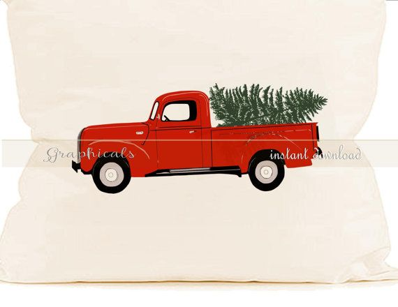 Old Red Truck With Christmas Tree In Back.Christmas Red Truck Tree My Drawing Printable Digital