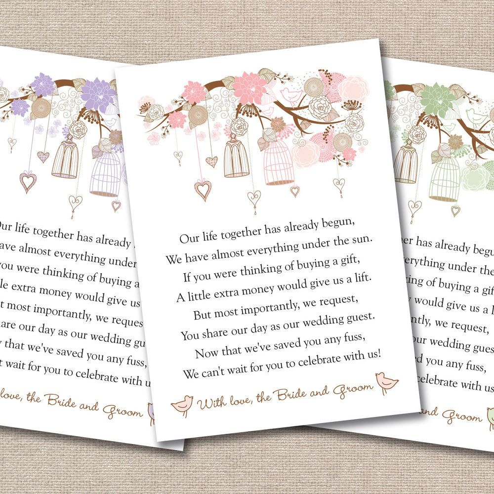 Details About Wedding Poem Cards For Your Invitations