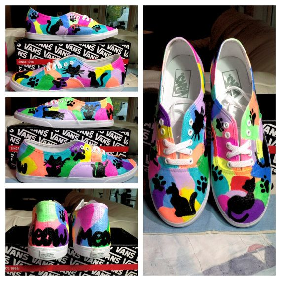 OMG!  Cat Custom TOMS Vans Keds or Converse by SolelyYoursShoes on Etsy, $113.00