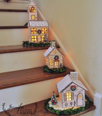 Casitas Navidenas Iluminadas Para Escaleras Con Moldes Casa Navidena Decoracion Navidena Casas De Carton Manualidades