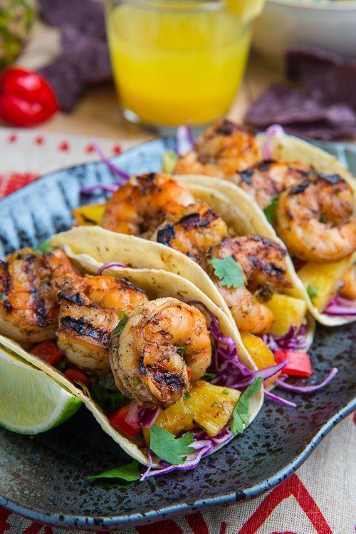 Jerk Shrimp Tacos with Pineapple Salsa, Slaw and Pina Colada Crema #jerkshrimp
