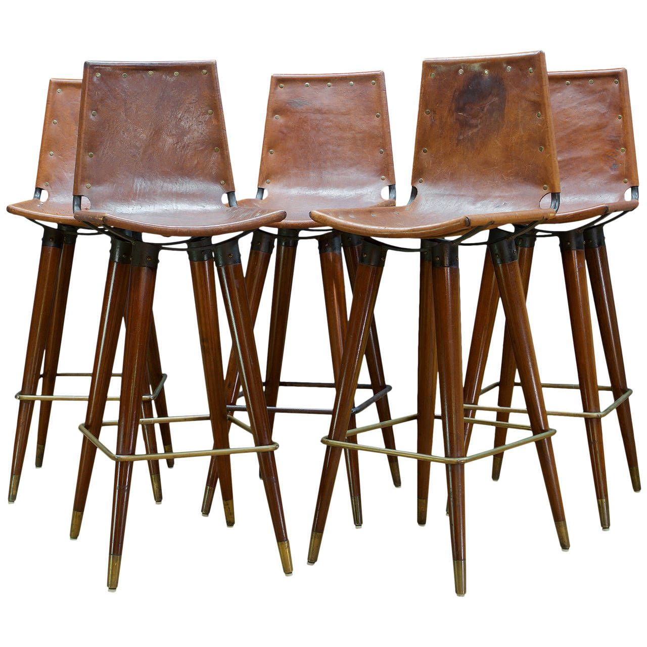 1960s Midcentury Leather Sling Iron Bar Stools From A Unique